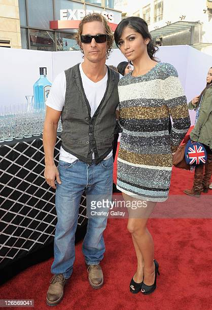 Actor Matthew McConaughey and model Camila Alves attend Bombay Sapphire at the world premiere of 'IRIS' A Journey Into The World Of Cinema By Cirque...