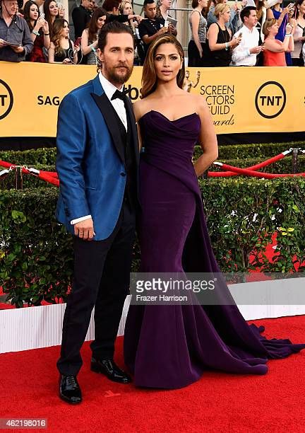 Actor Matthew McConaughey and model Camila Alves attend the 21st Annual Screen Actors Guild Awards at The Shrine Auditorium on January 25 2015 in Los...
