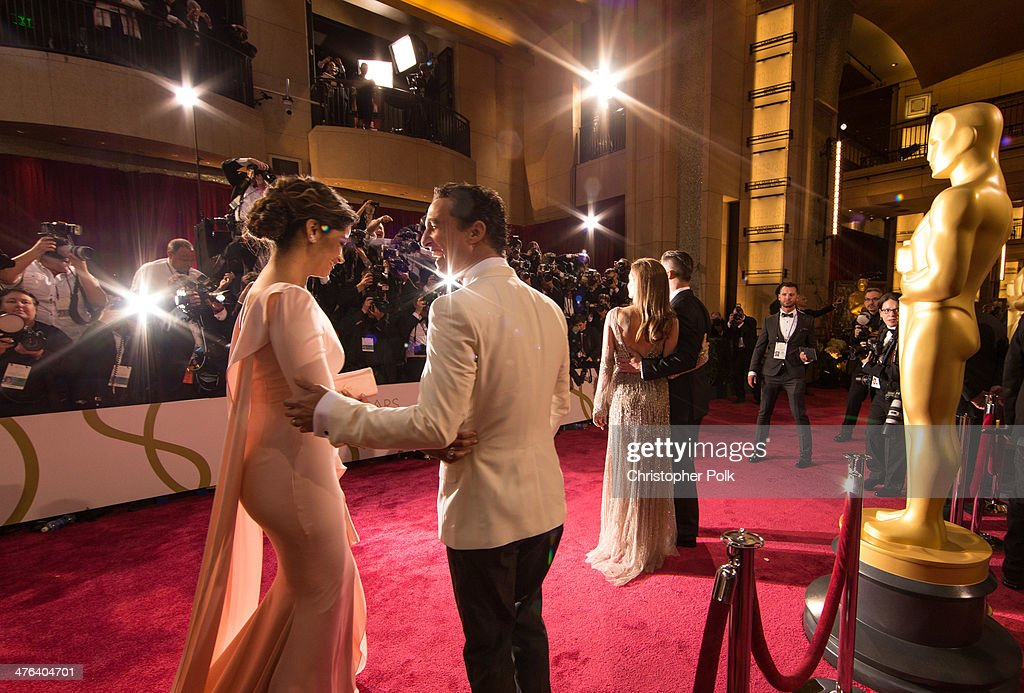 Actor Matthew McConaughey and model Camila Alves attend the Oscars at Hollywood & Highland Center on March 2, 2014 in Hollywood, California.
