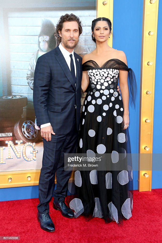 Actor Matthew McConaughey (L) and model Camila Alves attend the premiere Of Universal Pictures' 'Sing' on December 3, 2016 in Los Angeles, California.
