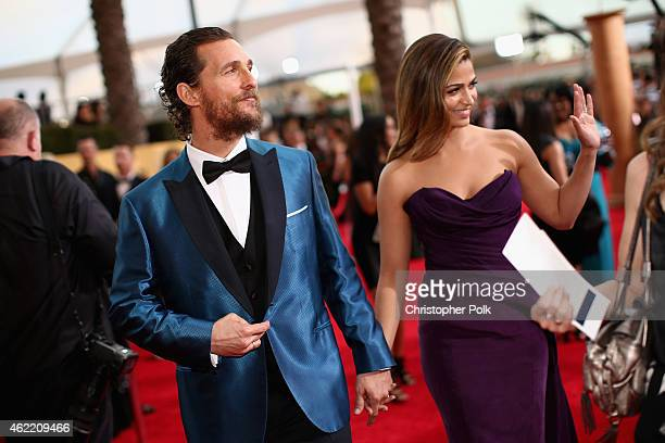 Actor Matthew McConaughey and model Camila Alves attend TNT's 21st Annual Screen Actors Guild Awards at The Shrine Auditorium on January 25 2015 in...