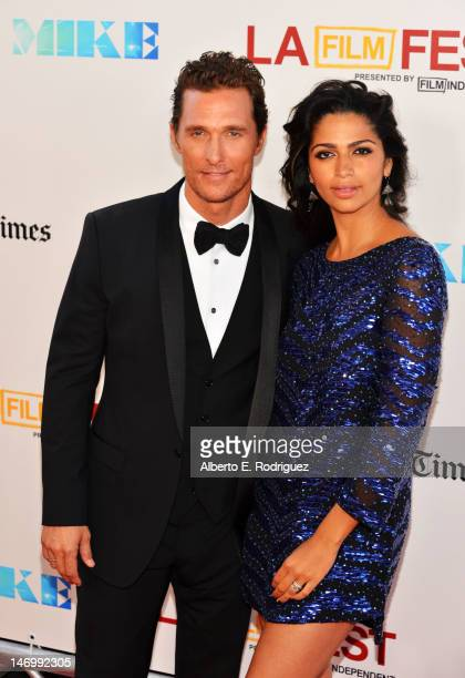 """Actor Matthew McConaughey and model Camila McConaughey arrive at the closing night gala premiere of """"Magic Mike"""" at the 2012 Los Angeles Film Festiva..."""