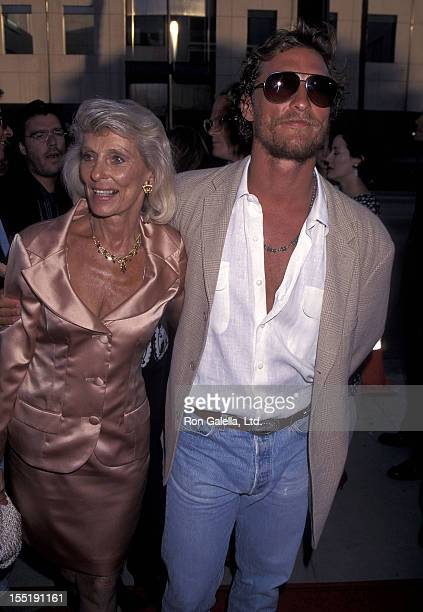 Actor Matthew McConaughey and mother Kay McConaughey attend the A Time to Kill Beverly Hills Premiere on July 9 1996 at Academy of Motion Picture...