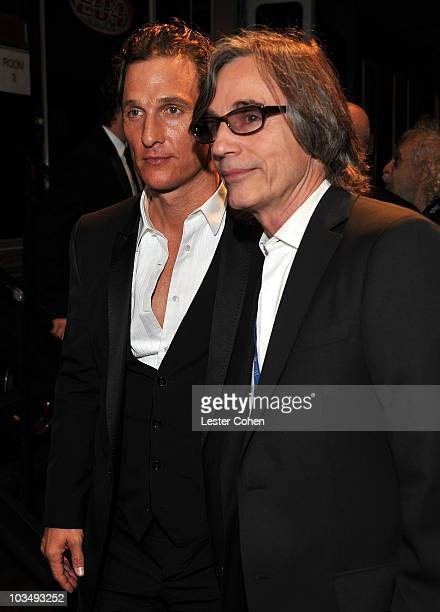 Actor Matthew McConaughey and musician Jackson backstage at the 2010 MusiCares Person Of The Year Tribute To Neil Young at the Los Angeles Convention...