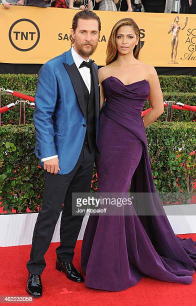 Actor Matthew McConaughey and wife Camila Alves arrive at the 21st Annual Screen Actors Guild Awards at The Shrine Auditorium on January 25 2015 in...