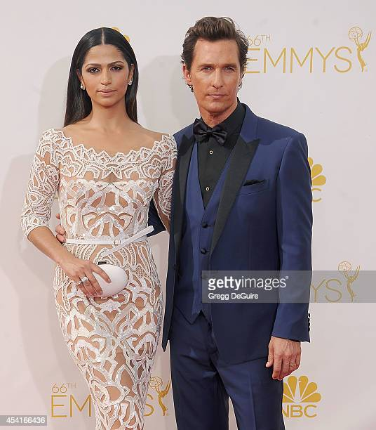 Actor Matthew McConaughey and wife Camila Alves arrive at the 66th Annual Primetime Emmy Awards at Nokia Theatre LA Live on August 25 2014 in Los...