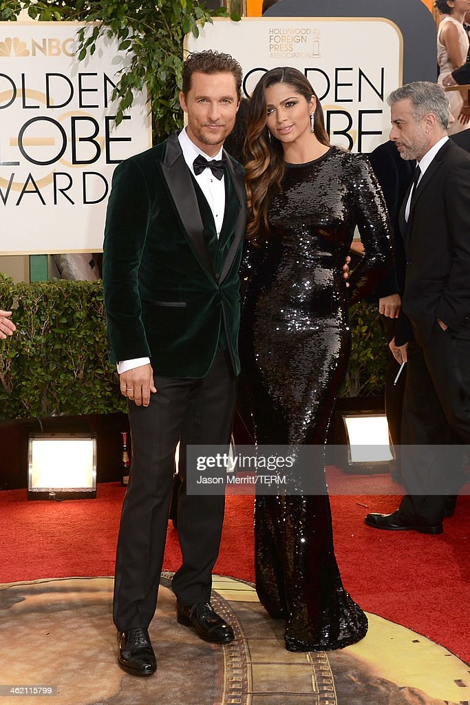 Actor Matthew McConaughey and wife Camila Alves attend the 71st Annual Golden Globe Awards held at The Beverly Hilton Hotel on January 12, 2014 in Beverly Hills, California.