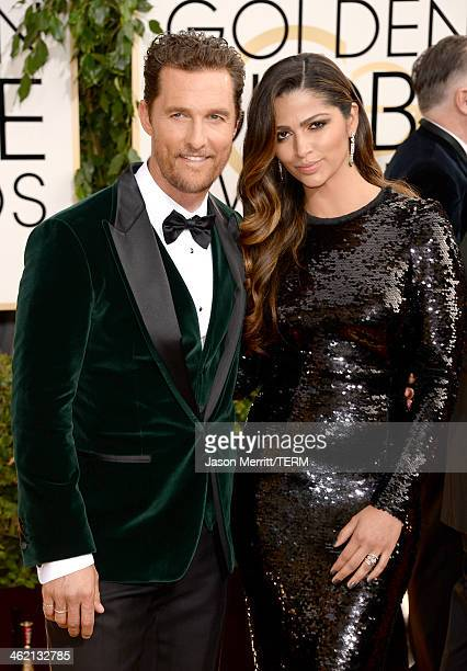 Actor Matthew McConaughey and wife Camila Alves attend the 71st Annual Golden Globe Awards held at The Beverly Hilton Hotel on January 12 2014 in...