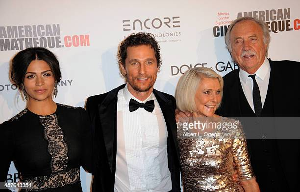 Actor Matthew McConaughey and wife/model Camila Alves mother Kay McConaughey and husband CJ Carlig arrive for the 28th American Cinematheque Award...