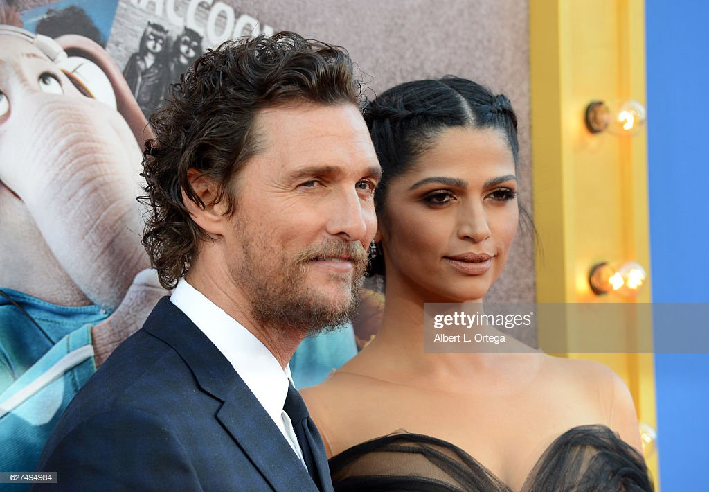 Actor Matthew McConaughey and wife/model Camilla Alves arrive at the Premiere Of Universal Pictures' 'Sing' held at Microsoft Theater on December 3, 2016 in Los Angeles, California.