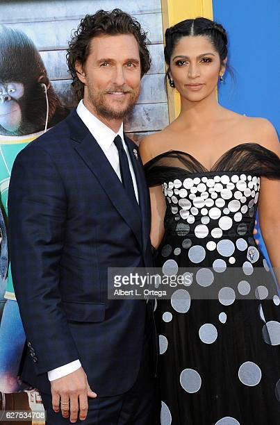 Actor Matthew McConaughey and wife/model Camilla Alves arrive at the Premiere Of Universal Pictures' Sing held at Microsoft Theater on December 3...