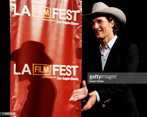 Actor Matthew McConaughey appears at Film Independent's Los Angeles Film Festival opening night premiere of Bernie at the LA Live Regal Cinemas on...