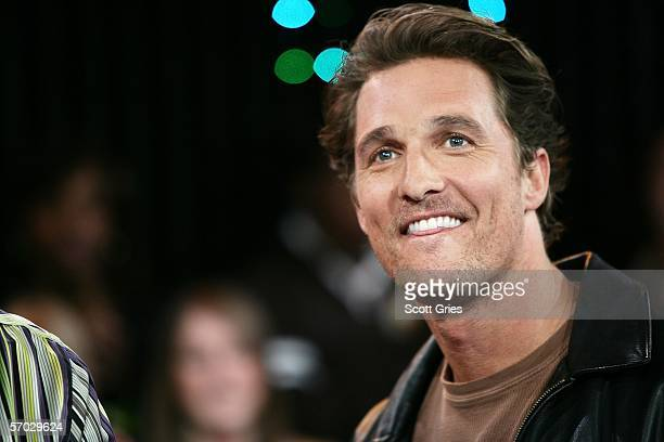 Actor Matthew McConaughey appears onstage during MTV's Total Request Live at the MTV Times Square Studios on March 8 2006 in New York City