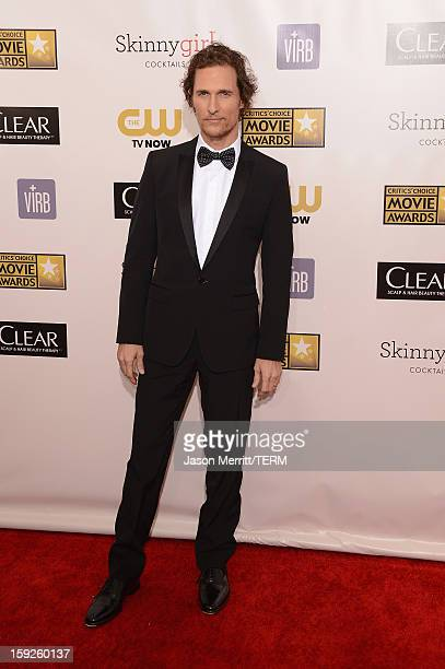 Actor Matthew McConaughey arrives at the 18th Annual Critics' Choice Movie Awards held at Barker Hangar on January 10 2013 in Santa Monica California