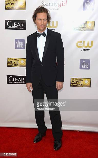 Actor Matthew McConaughey arrives at the 18th Annual Critics' Choice Movie Awards at Barker Hangar on January 10 2013 in Santa Monica California