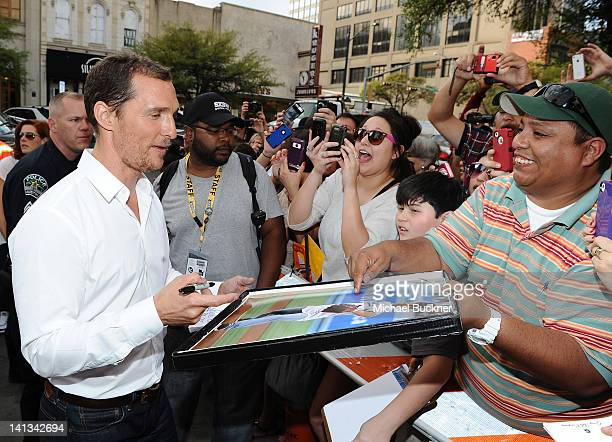 Actor Matthew McConaughey arrives at the World Premiere of Bernie during the 2012 SXSW Music Film Interactive Festival at Paramount Theatre on March...
