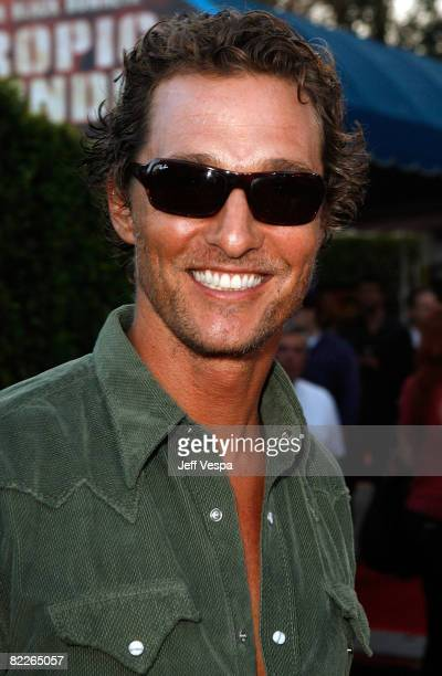 """Actor Matthew McConaughey arrives on the red carpet of the Los Angeles Premiere Of """"Tropic Thunder"""" at the Mann's Village Theater on August 11, 2008..."""