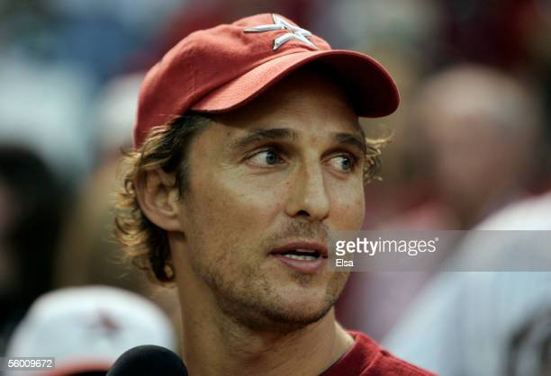 Actor Matthew McConaughey attends Game Three of the 2005 Major League Baseball World Series between the Chicago White Sox and the Houston Astrosat...