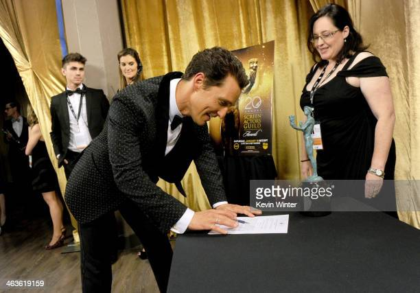 Actor Matthew McConaughey attends the 20th Annual Screen Actors Guild Awards at The Shrine Auditorium on January 18 2014 in Los Angeles California