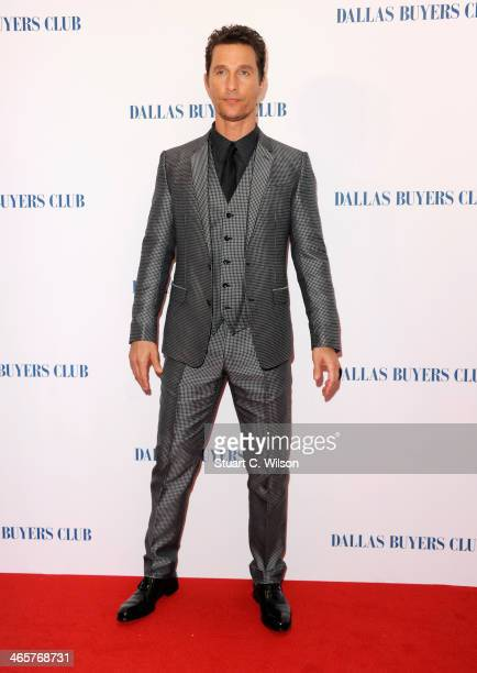 Actor Matthew McConaughey attends the Dallas Buyers Club UK Premiere at the Curzon Mayfair on January 29 2014 in London England