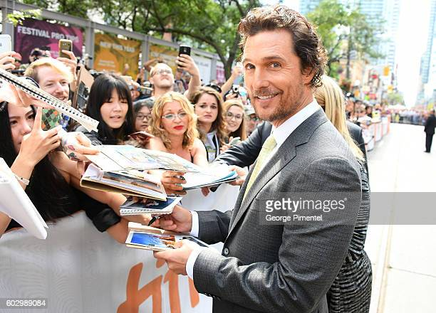 Actor Matthew McConaughey attends the 'Sing' premiere during the 2016 Toronto International Film Festival at Princess of Wales Theatre on September...