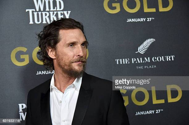 Actor Matthew McConaughey attends The World Premiere of Gold hosted by TWC Dimension with Popular Mechanics The Palm Court Wild Turkey Bourbon at AMC...