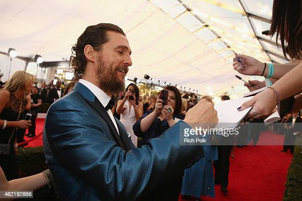 Actor Matthew McConaughey attends TNT's 21st Annual Screen Actors Guild Awards at The Shrine Auditorium on January 25, 2015 in Los Angeles,...