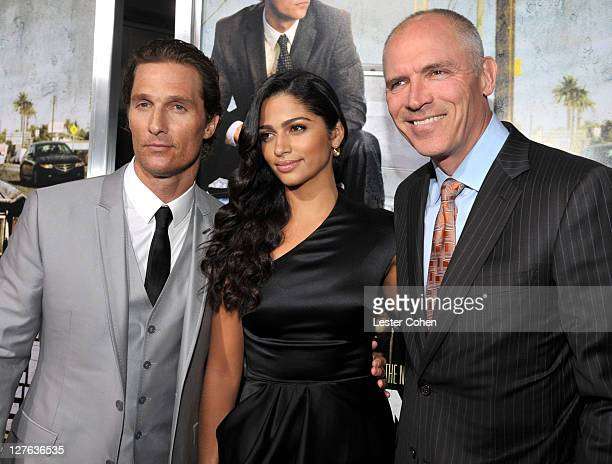 """Actor Matthew McConaughey, Camila Alves and COO of Lionsgate Joe Drake arrive at """"The Lincoln Lawyer"""" Los Angeles screening held at ArcLight Cinemas..."""