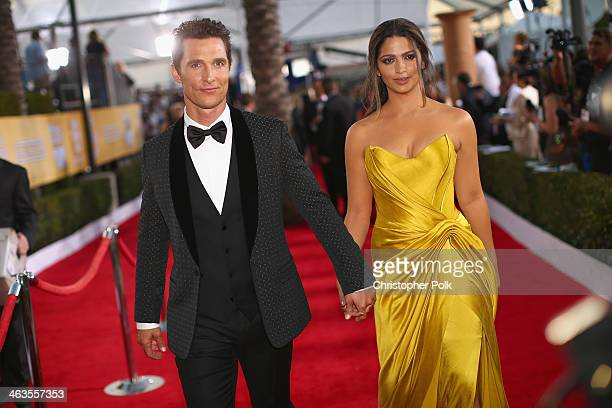 Actor Matthew McConaughey Camila Alves McConaughey attends 20th Annual Screen Actors Guild Awards at The Shrine Auditorium on January 18 2014 in Los...