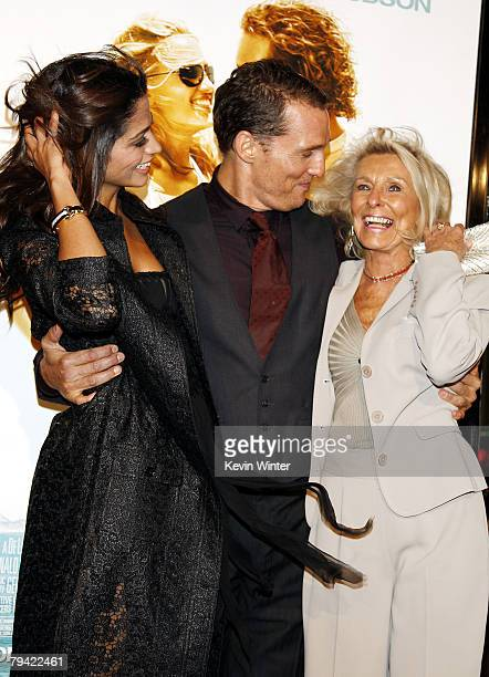 Actor Matthew McConaughey fiancee Camila Alves and his mother Mary arrive at the premiere of Warner Bros Pictures Fool's Gold at the Chinese Theatre...