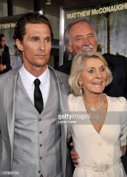 Actor Matthew McConaughey his mother Kay McCabeat and father James Donald McConaughey arrive at The Lincoln Lawyer Los Angeles screening held at...