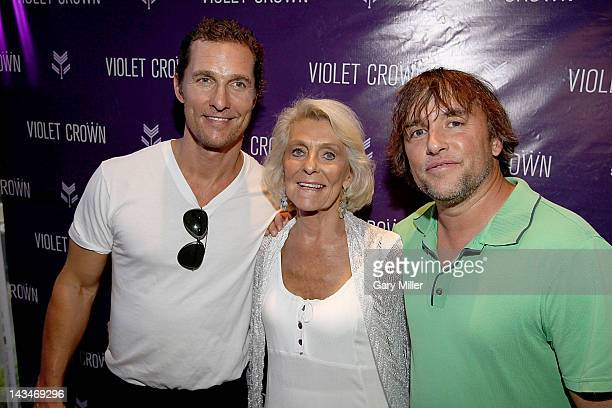 Actor Matthew McConaughey his mother Kay McConaughey and director Richard Linklater walk the red carpet during an Austin Film Society screening of...