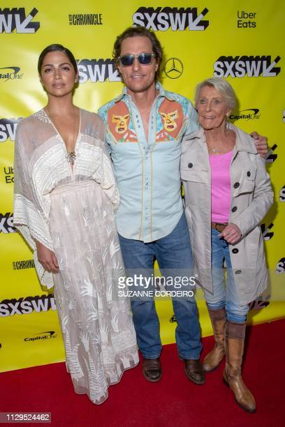 Actor Matthew McConaughey his wife Camila Alves and his mother Mary Kathlene McCabe attend the premiere of The Beach Bum during the 2019 SXSW...