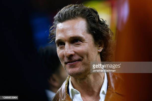 Actor Matthew McConaughey looks on during the second half of the Allstate Sugar Bowl between the Georgia Bulldogs and the Texas Longhorns at the...
