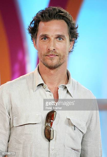 Actor Matthew McConaughey makes an appearance on MTV's Total Request Live on April 6 2005 in New York City