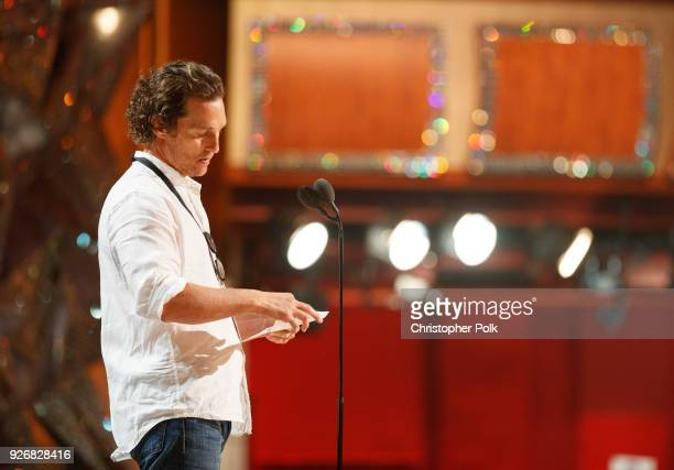 Actor Matthew McConaughey on stage during rehersals for the 90th Oscars at The Dolby Theatre on March 3 2018 in Hollywood California