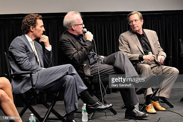 Actor Matthew McConaughey playwright and actor Tracy Letts and film director William Friedkin attend a screening of 'Killer Joe' at The Film Society...