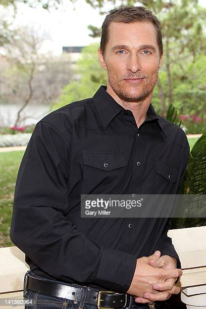 Actor Matthew McConaughey poses during a photo call for his new film Bernie at the Four Seasons Hotel on March 14 2012 in Austin Texas