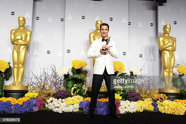 Actor Matthew McConaughey poses in the press room at the 86th annual Academy Awards at Dolby Theatre on March 2 2014 in Hollywood California