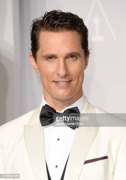Actor Matthew McConaughey poses in the press room during the Oscars at Loews Hollywood Hotel on March 2 2014 in Hollywood California