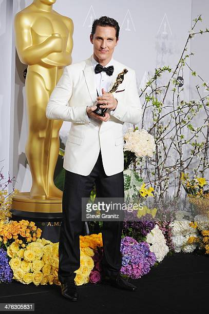 Actor Matthew McConaughey poses in the press room during the Oscars at Loews Hollywood Hotel on March 2, 2014 in Hollywood, California.
