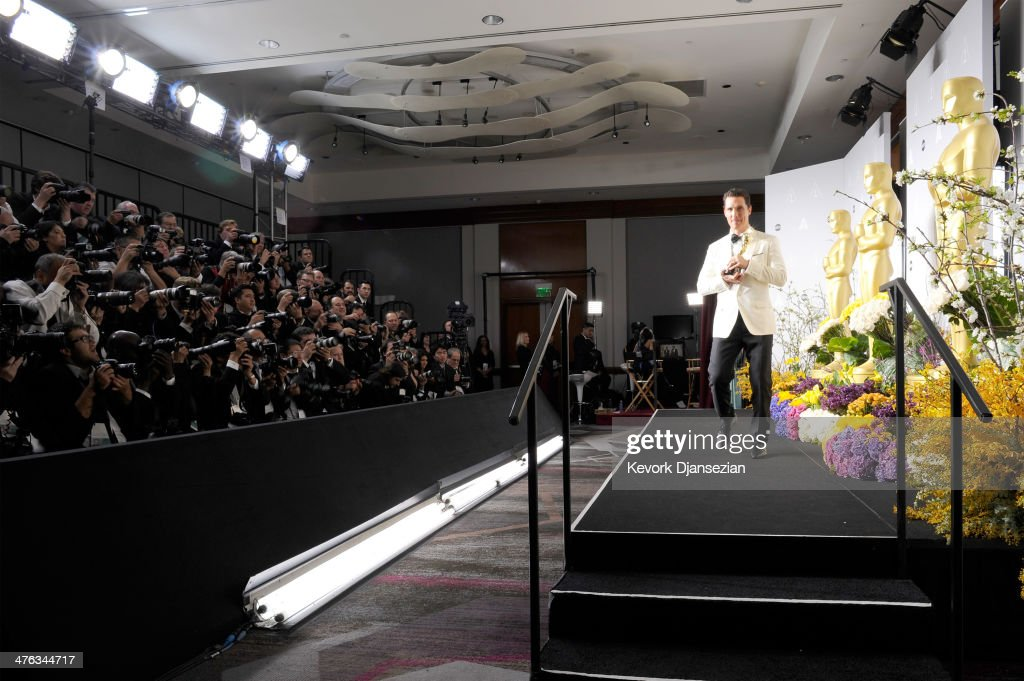 Actor Matthew McConaughey poses in the press room duringduring the Oscars at Loews Hollywood Hotel on March 2, 2014 in Hollywood, California.