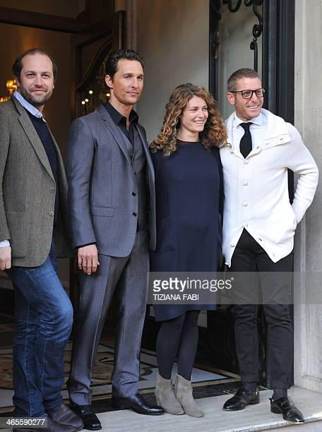 US actor Matthew McConaughey poses with producer Francesco Melzi d'Eril Italian businessman Lapo Edvard Elkann and his sister Ginevra Elkann during a...