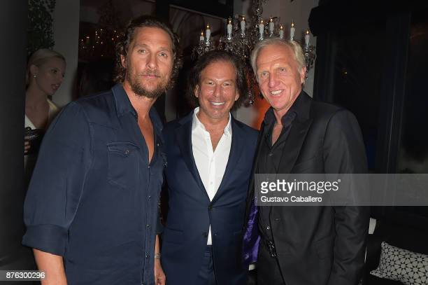 Actor Matthew McConaughey RH Chairman and CEO Gary Friedman and Greg Norman attend the private opening celebration of RH West Palm on November 18...