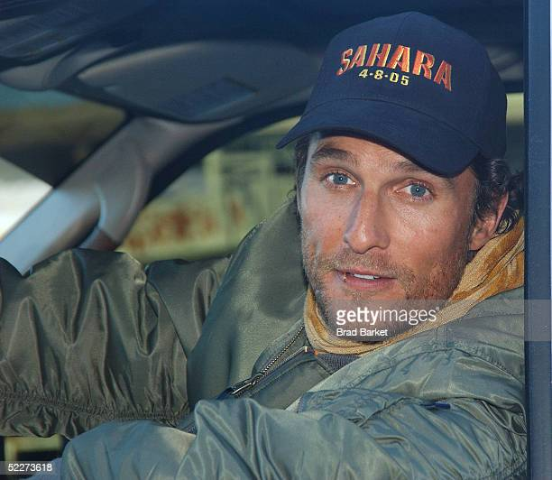 Actor Matthew McConaughey sits in his personal Airstream trailer as he arrives at the Intrepid Sea Air and Space Museum to promote his new movie...