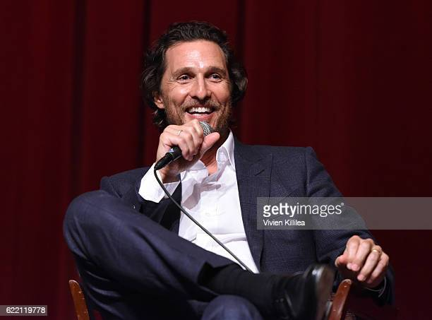 Actor Matthew McConaughey speaks during a QA at TWCDimension Celebrates The Cast And Filmmakers Of Gold on November 9 2016 in Los Angeles California
