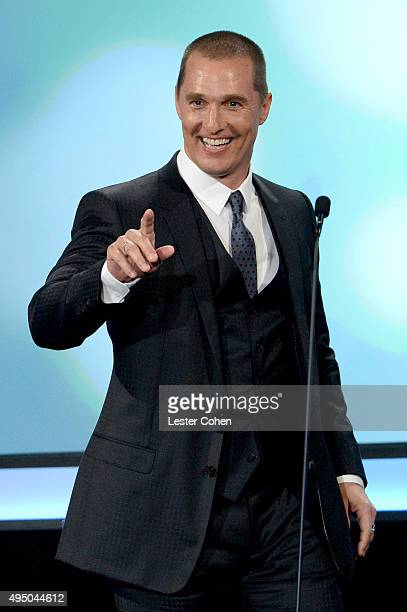 Actor Matthew McConaughey speaks onstage during the 29th American Cinematheque Award honoring Reese Witherspoon at the Hyatt Regency Century Plaza on...