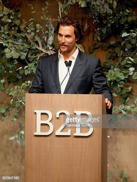 Actor Matthew McConaughey speaks onstage during the Fifth Annual Baby2Baby Gala Presented By John Paul Mitchell Systems at 3LABS on November 12 2016...