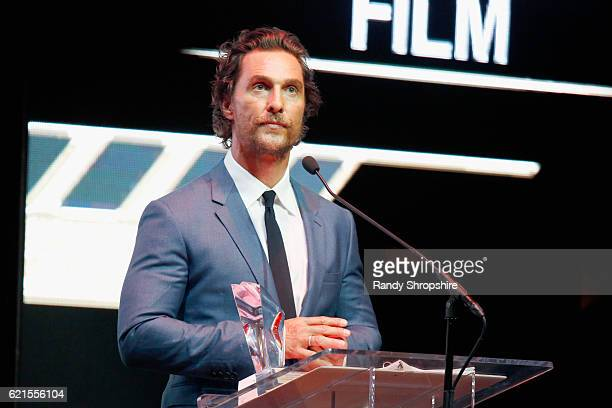 Actor Matthew McConaughey speaks onstage during the Hamilton Behind The Camera Awards presented by Los Angeles Confidential Magazine at Exchange LA...