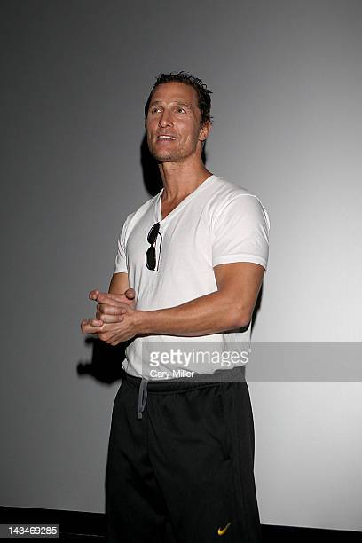 Actor Matthew McConaughey speaks to the crowd during an Austin Film Society screening of his new movie Bernie at the Violet Crown Cinema on April 26...